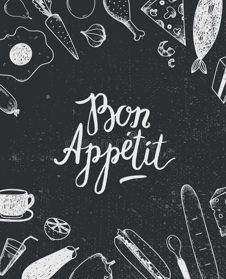 导航与食物例证的好的妙语Appetit图表海报,菜单盖子,横幅 皇族释放例证