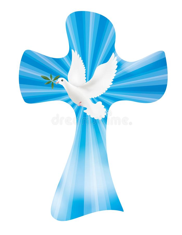 导航与鸠和橄榄叶子的基督徒十字架在与光亮光芒的天空背景 和平标志 库存例证