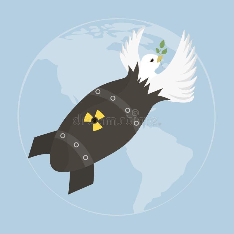 导航与鸠的例证和在蓝天的原子弹 模板为国际和平天 向量例证