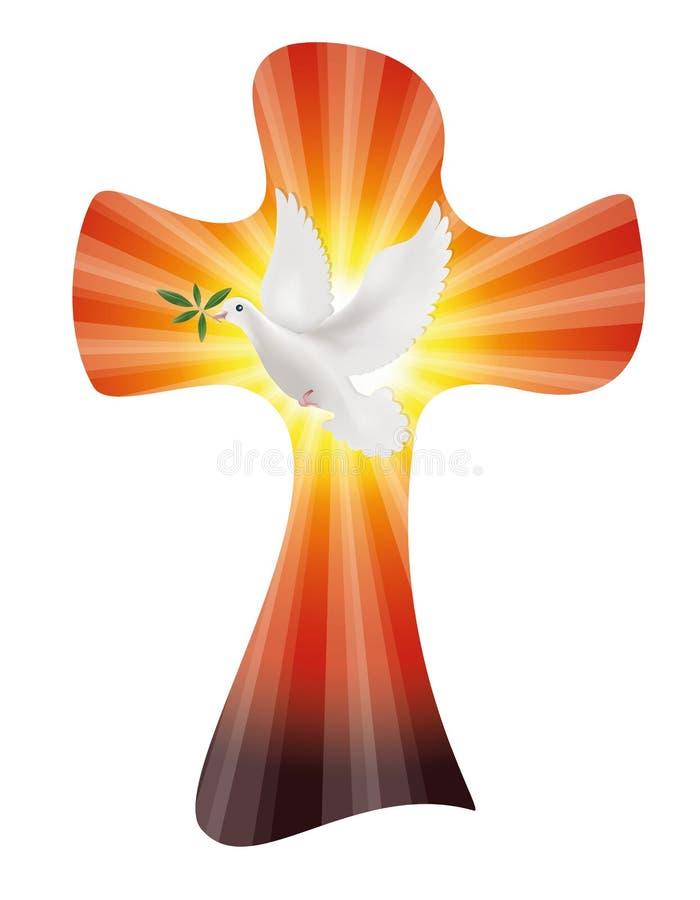 导航与鸠的基督徒十字架和在日落或日出背景的橄榄树枝与光线 和平标志 库存例证