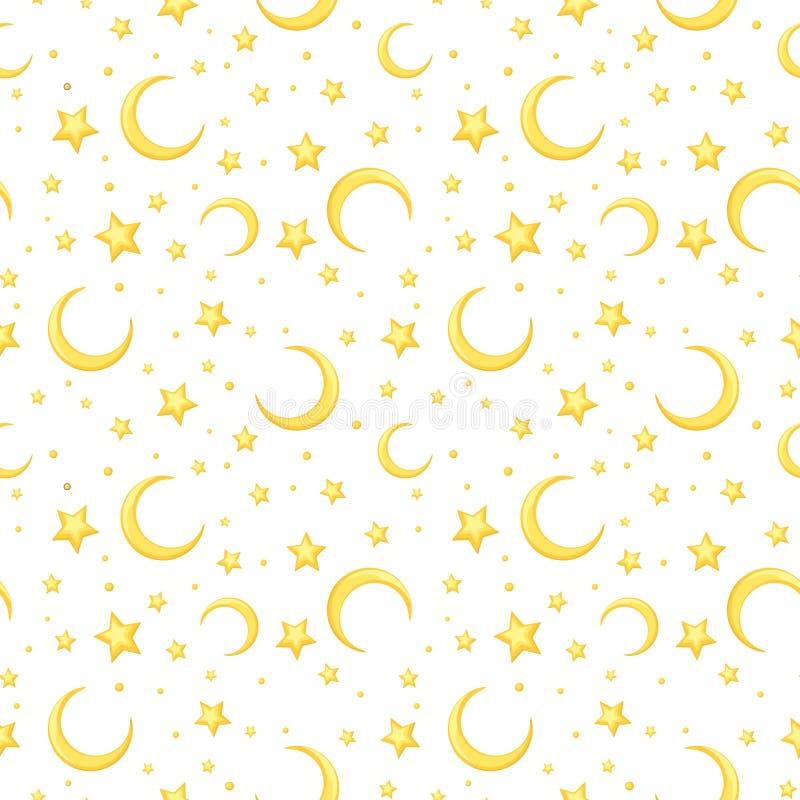 导航与黄色星和月牙的无缝的样式在白色 向量例证