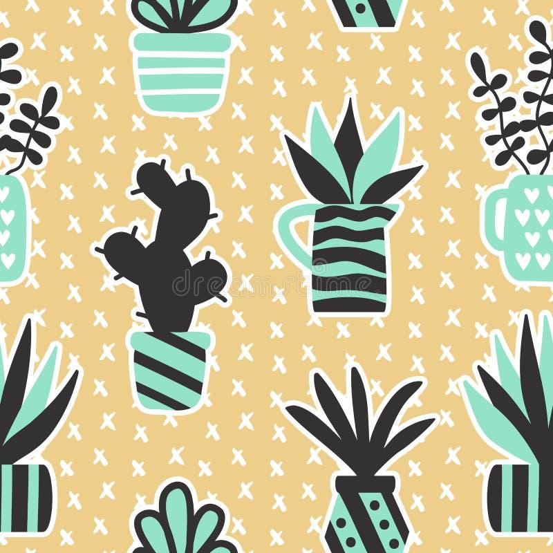 导航与黑多汁植物和室内植物的无缝的样式在花瓶 向量例证