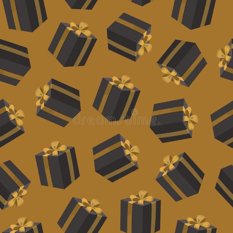 导航与黑礼物盒的无缝的样式在黄色背景 有金丝带弓的生日礼物箱子 库存例证