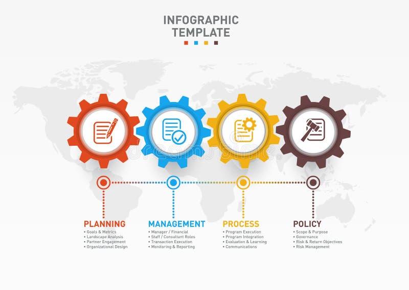 导航与齿轮和世界地图的infographic模板 向量例证