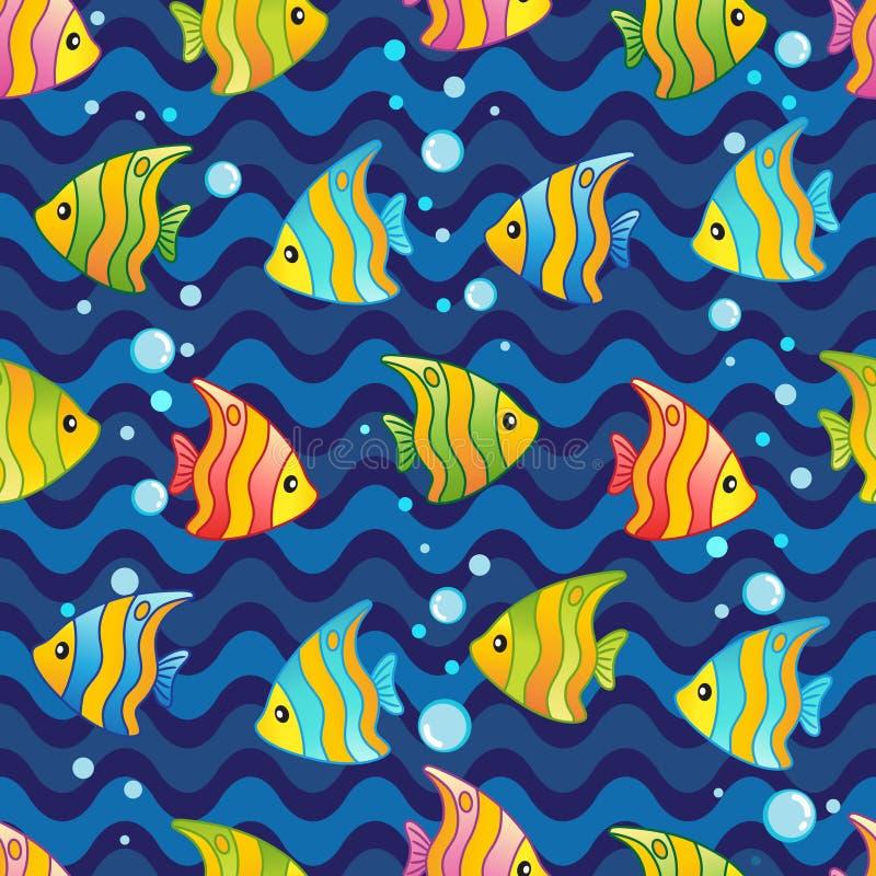 导航与水下的设计和滑稽的海生物的样式 向量例证