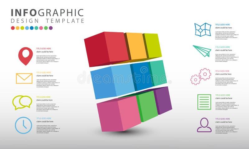 导航与9个选择的infographic,抽象3D企业例证infographics模板 向量例证
