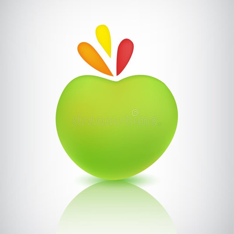 导航与阴影和反射的绿色苹果象 库存例证