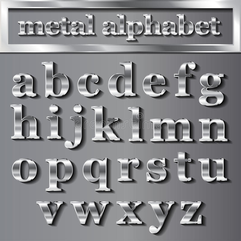 导航与阴影的银色金属信件在灰色背景 库存例证
