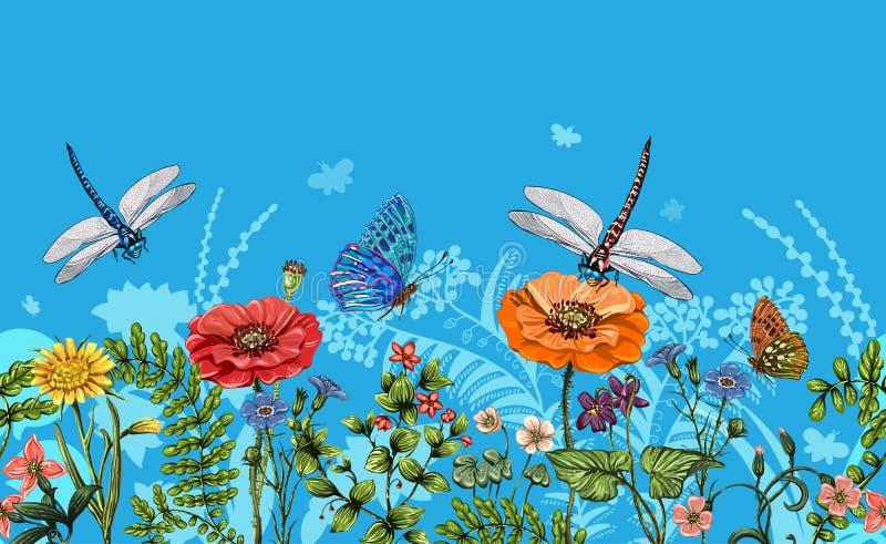 导航与蜻蜓、蝴蝶、花、草和植物的垂直的边界 夏天样式 无缝的自然边界 向量例证
