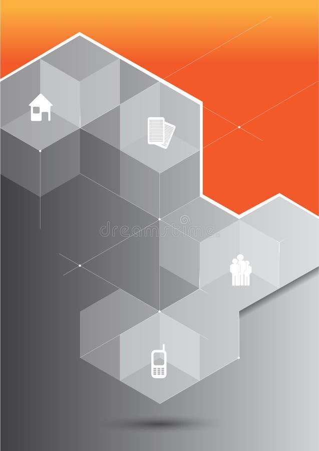 导航与3D立方体和公司集成电路的抽象橙色背景 皇族释放例证