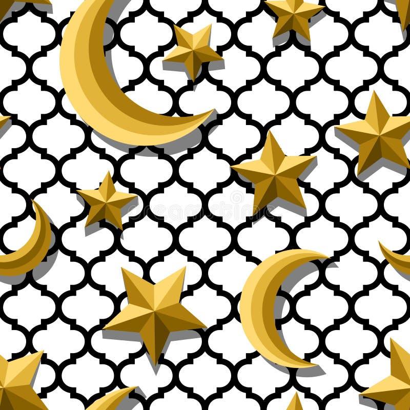 导航与3d被传统化的金黄月亮和星的无缝的阿拉伯样式 库存例证