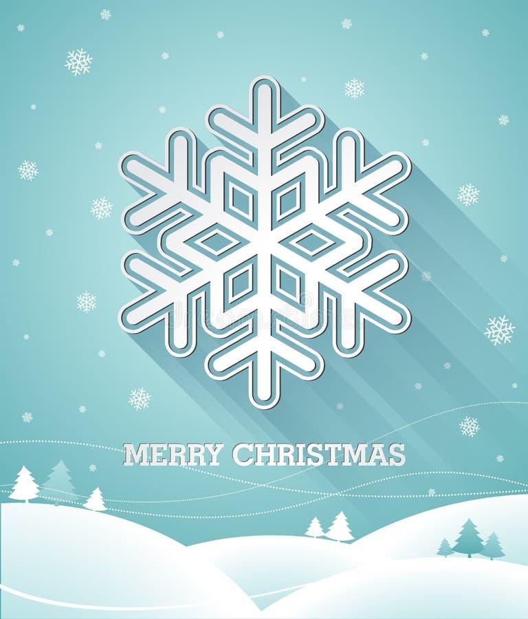 导航与3d雪花的圣诞节例证在蓝色背景 皇族释放例证