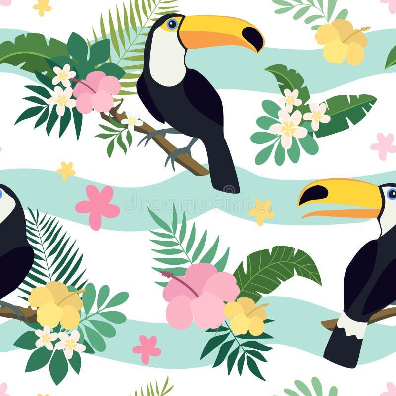 导航与toucan鸟的无缝的样式在与叶子和花的热带分支 皇族释放例证