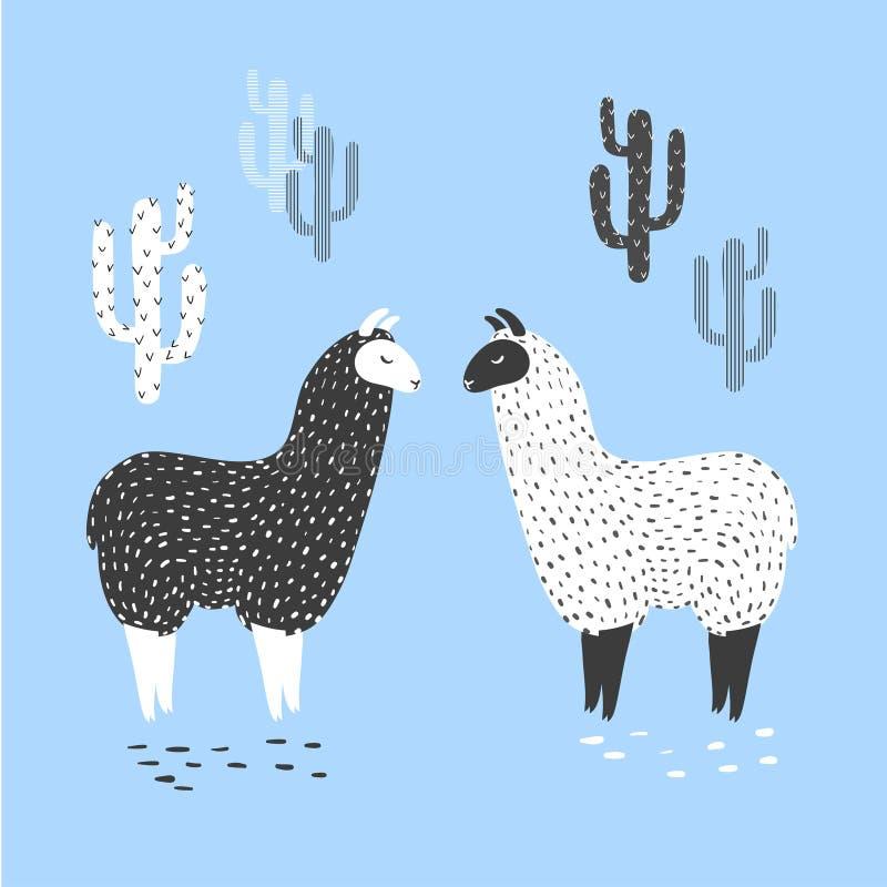 导航两个逗人喜爱的骆马和仙人掌的例证 向量例证