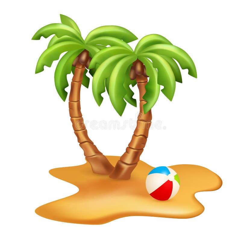 导航两棵棕榈树的例证与球的 在白色隔绝的传染媒介图象 库存例证
