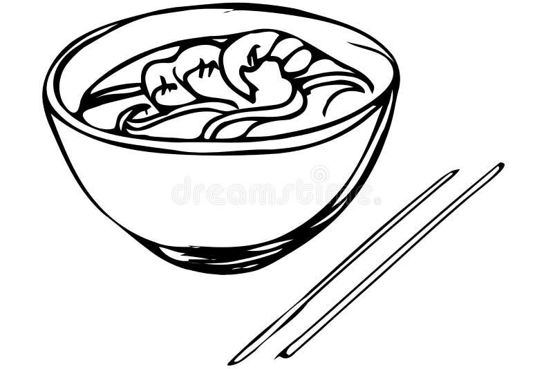 导航中国面条剪影用虾和筷子 向量例证