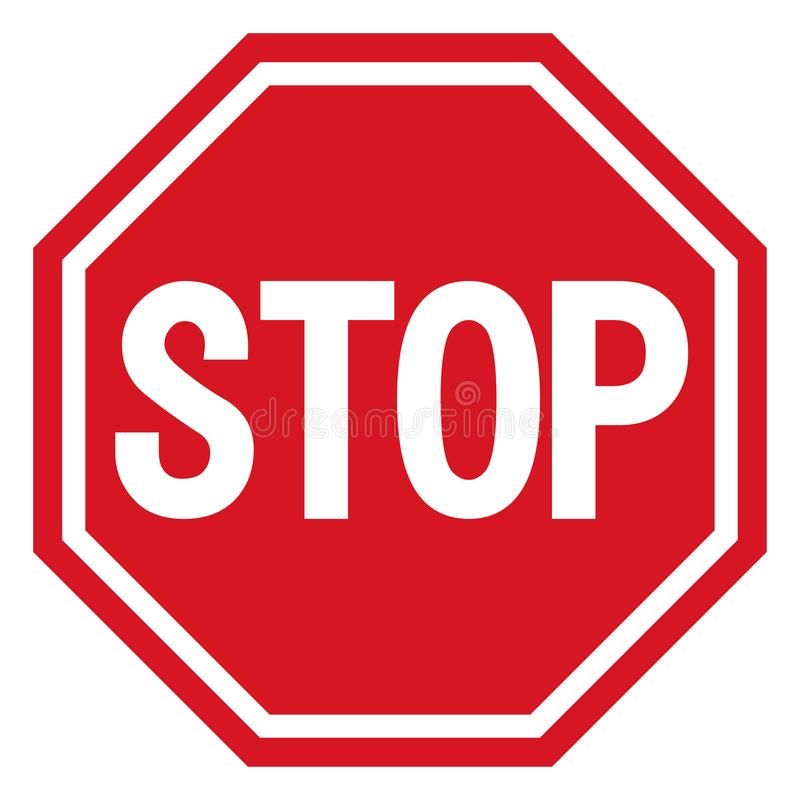 导航中止象,被禁止的段落,停车牌象,在白色背景,红色中止商标,禁止标志的没有词条标志, 库存例证