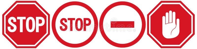 导航中止象,被禁止的段落,停车牌象,在白色背景,红色中止商标,禁止标志的没有词条标志 向量例证