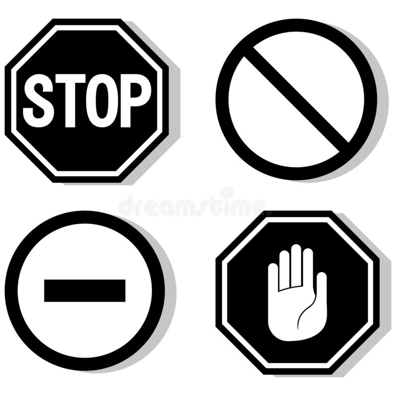 导航中止象,被禁止的段落,停车牌象,在白色背景,红色中止商标,禁止标志的没有词条标志 库存例证
