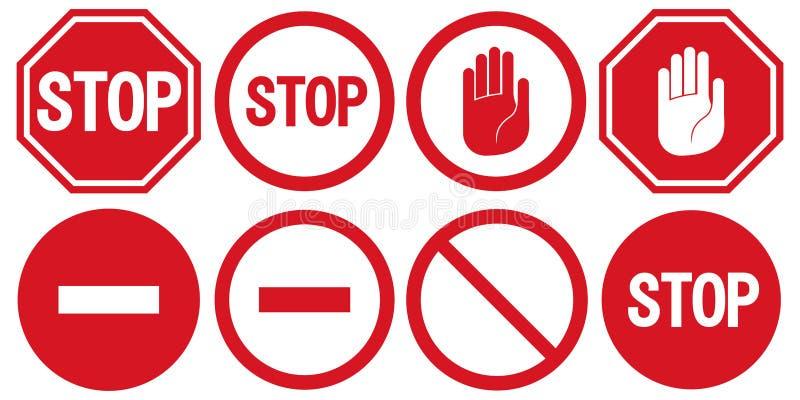 导航中止象,被禁止的段落,停车牌象,在白色背景,红色中止商标,禁止标志的没有词条标志 皇族释放例证