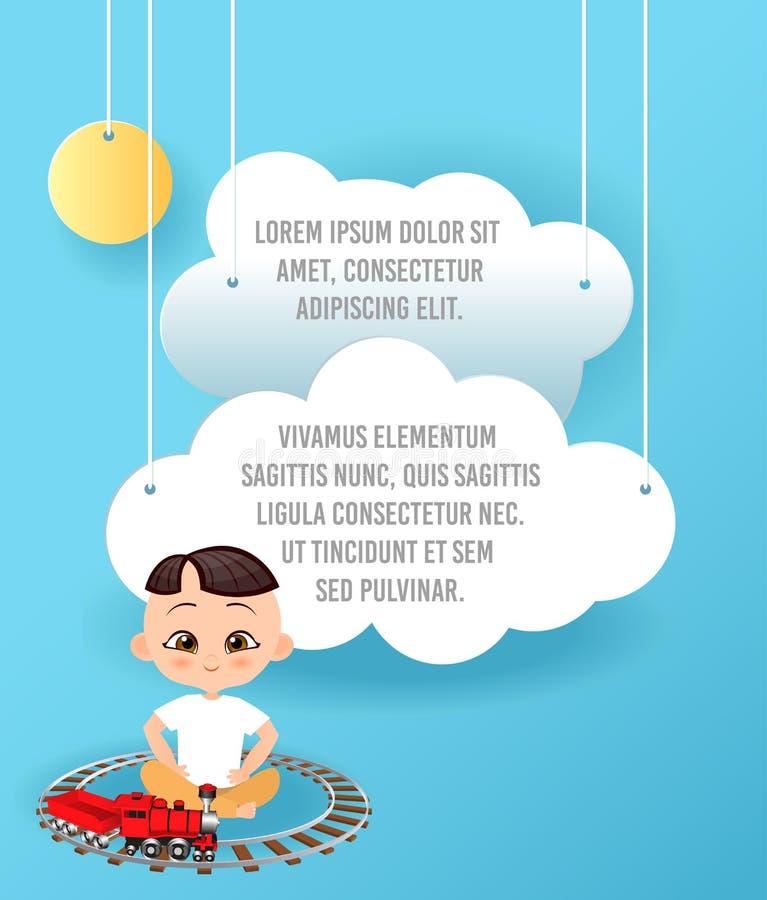 导航云彩纸艺术在天空的 模板与空间的宣传手册文本的 Origami概念横幅 与日本的横幅 皇族释放例证