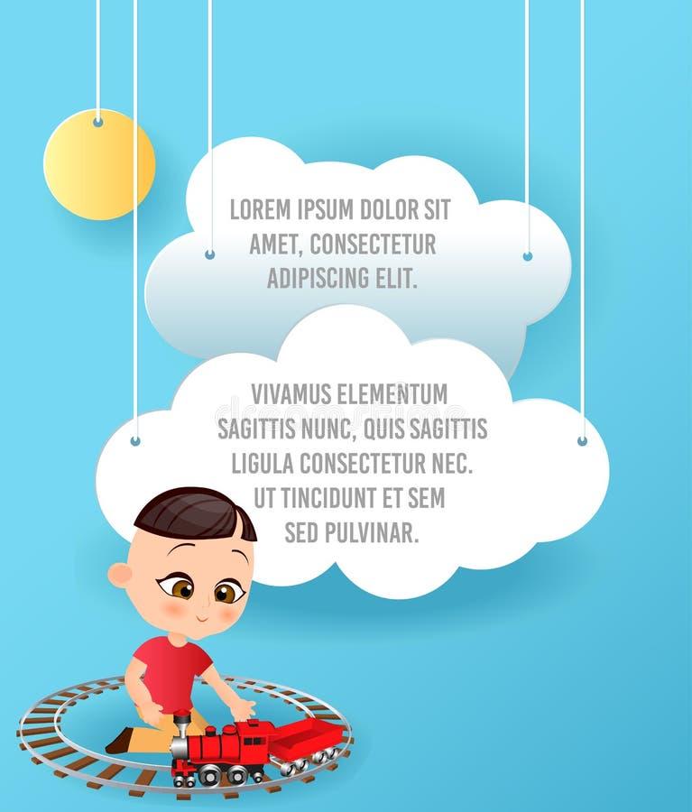 导航云彩纸艺术在天空的 模板与空间的宣传手册文本的 Origami概念横幅 与日本的横幅 库存例证