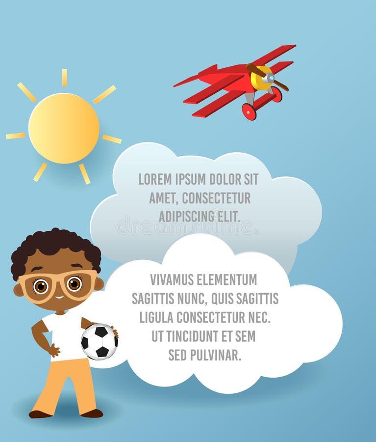 导航云彩纸艺术在天空的 模板与空间的宣传手册文本的 Origami概念横幅 与Afric的横幅 皇族释放例证