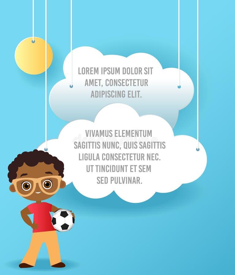 导航云彩纸艺术在天空的 模板与空间的宣传手册文本的 Origami概念横幅 与Afric的横幅 库存例证