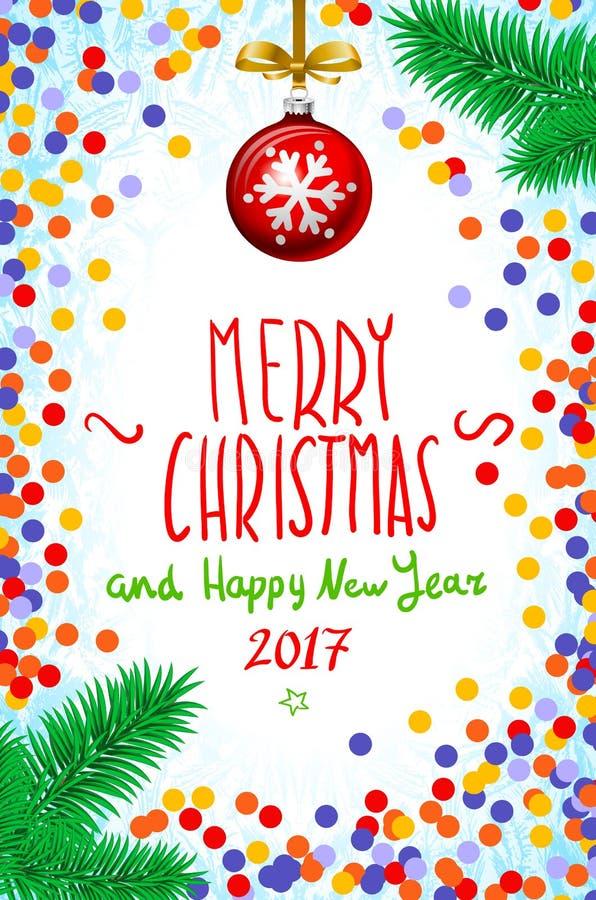 导航五彩纸屑在桌、手写的题字圣诞快乐和新年好2017年,圣诞树分支圣诞节上 库存例证