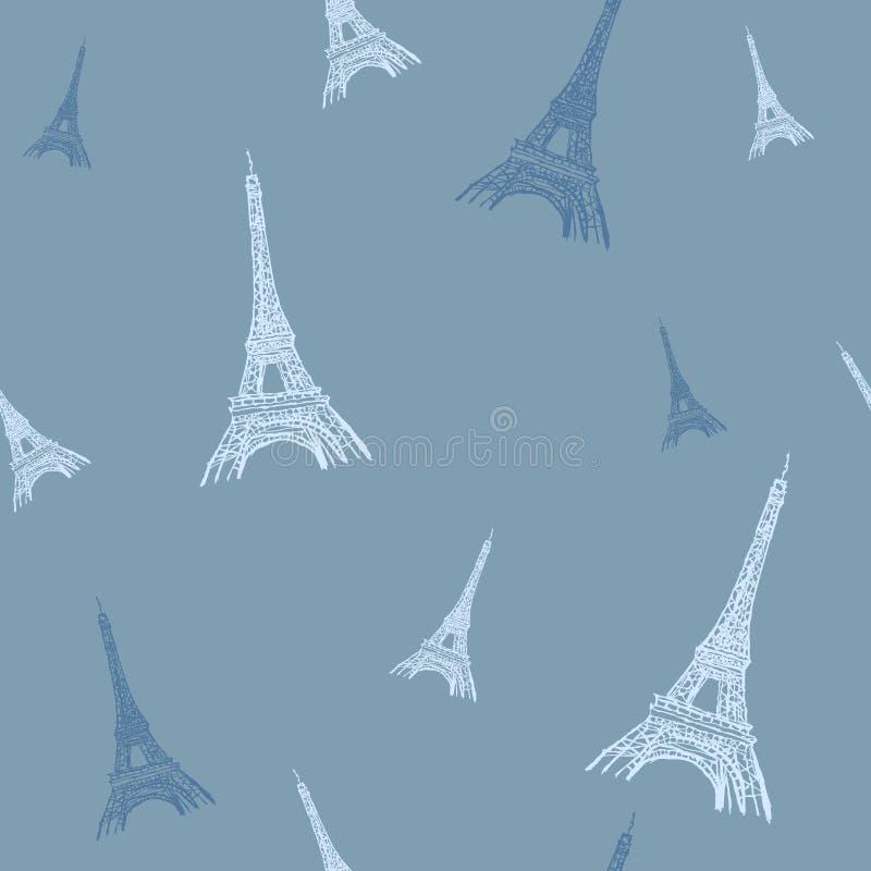 导航五颜六色的埃菲尔山塔巴黎现出轮廓无缝的重复样式 为旅行主题的明信片完善,招呼 向量例证