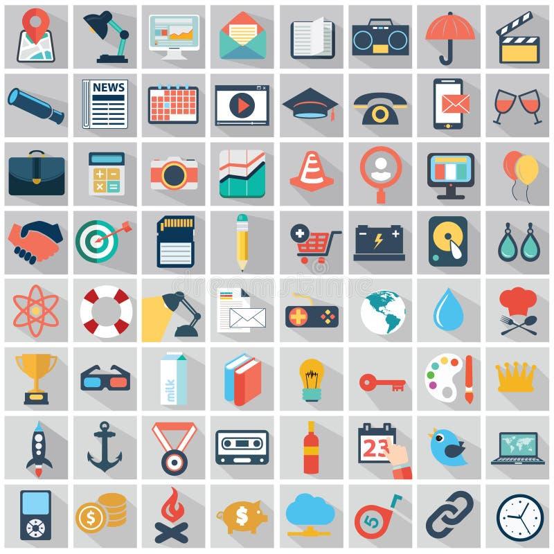 导航五颜六色的平的事务的汇集并且提供经费给象 库存例证