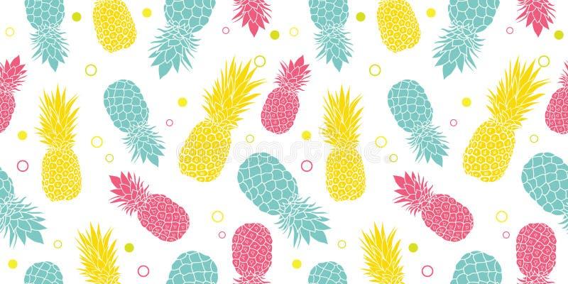导航五颜六色的菠萝夏天热带无缝的样式背景 伟大作为纺织品印刷品,党邀请或 皇族释放例证
