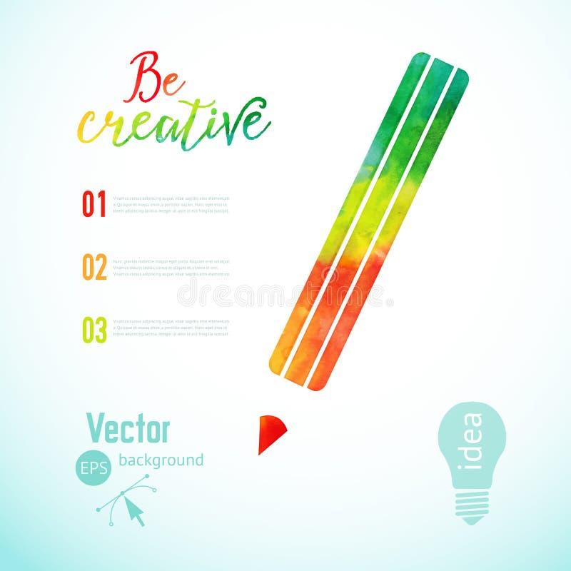 导航五颜六色的铅笔象,艺术家在工作 着墨铅笔,视觉艺术传染媒介例证的标志 与colorfu的创造性概念 向量例证