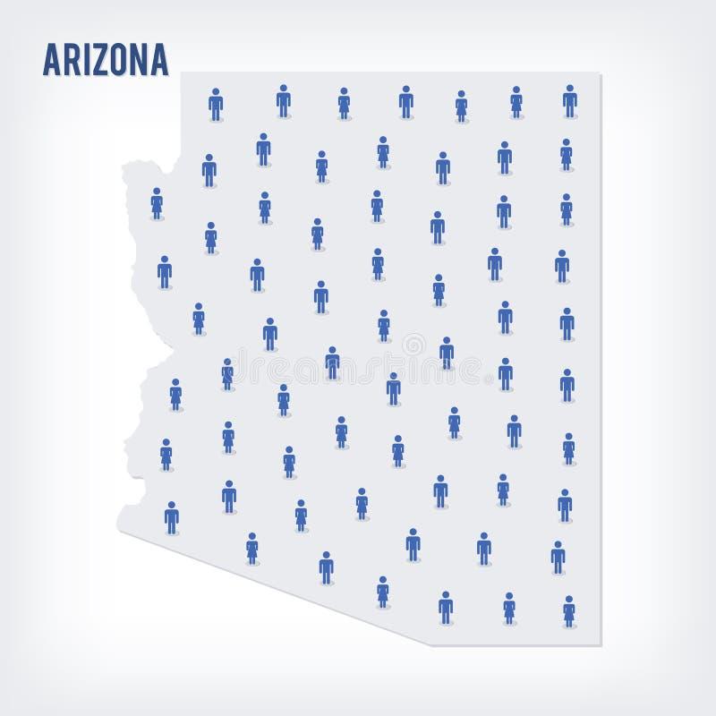 导航亚利桑那州人地图  人口的概念 库存例证