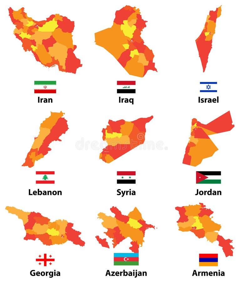 导航亚洲人和近东国家地图和旗子有管理部门地区边界的 库存例证