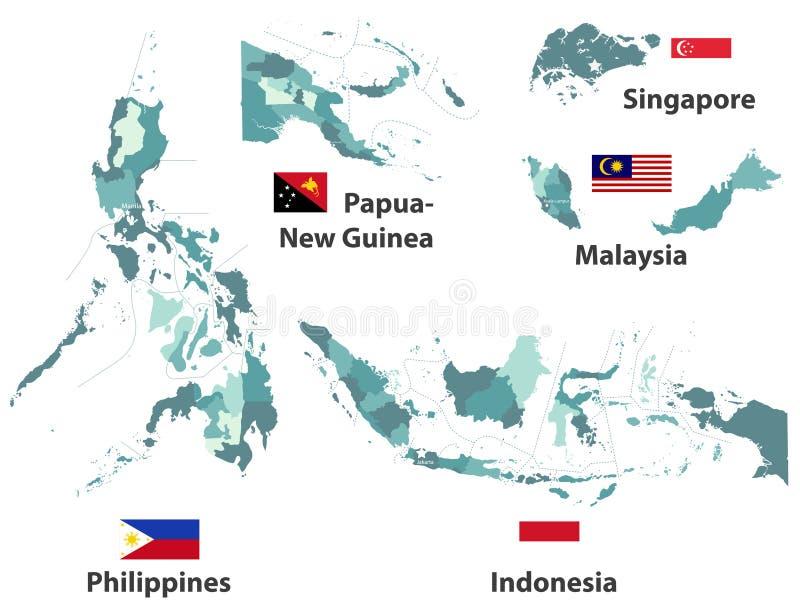 导航亚洲国家高详细的地图和旗子有管理部门地区边界的 库存例证