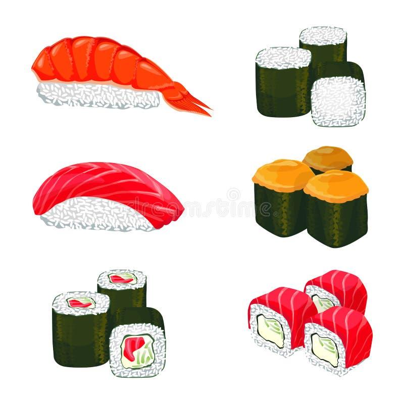 导航亚洲卷用白米,三文鱼成份横幅  皇族释放例证