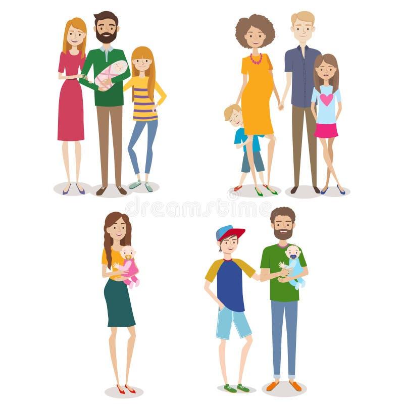 导航人的汇集有家庭和孩子的 向量例证