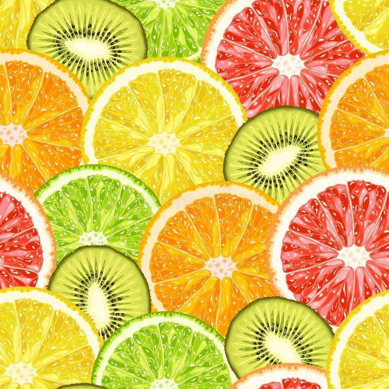 导航从异乎寻常的热带水果切片的无缝的样式 库存例证