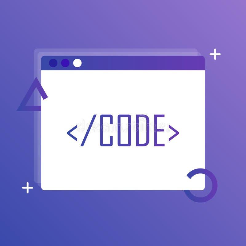 导航代码编辑象,网络设计,编码 例证现代向量 免版税库存图片