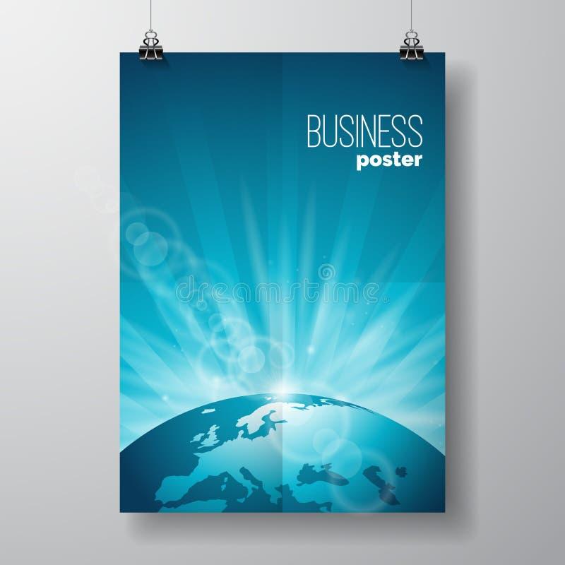导航企业与地球的飞行物例证在蓝色背景 库存例证