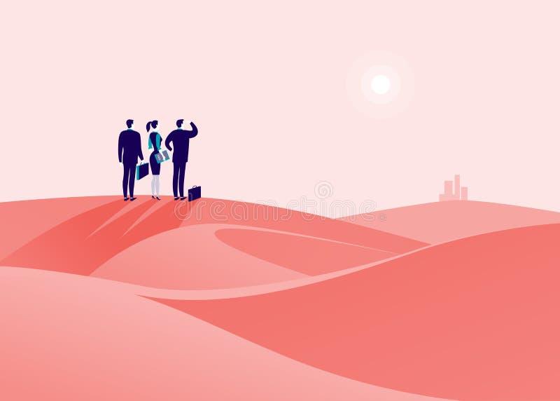 导航企业与站立在沙漠小山的商人的概念例证 皇族释放例证
