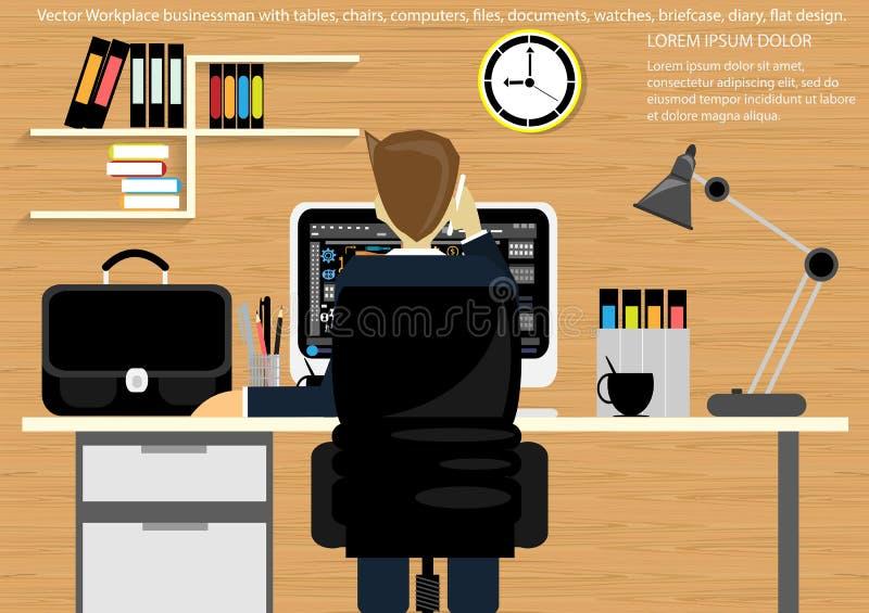 导航企业公文包的,桌,椅子,计算机,手表,笔,铅笔,文件,文件,灯,咖啡杯工作场所, 向量例证