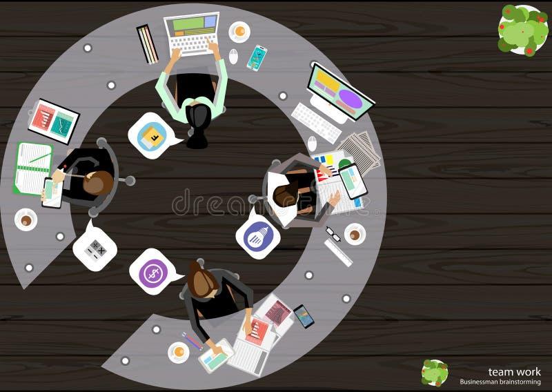 导航企业工作地点上面角落任务的,支持计算机笔记本片剂流动文件纸激发灵感想法 向量例证