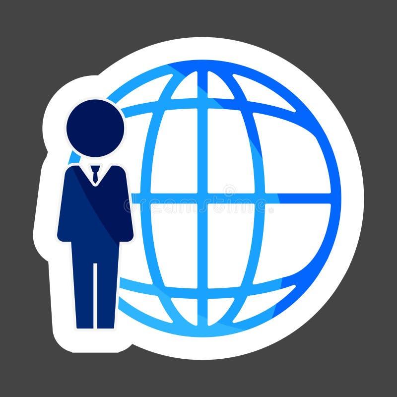 导航企业站立在全世界网络旁边的象人 库存例证