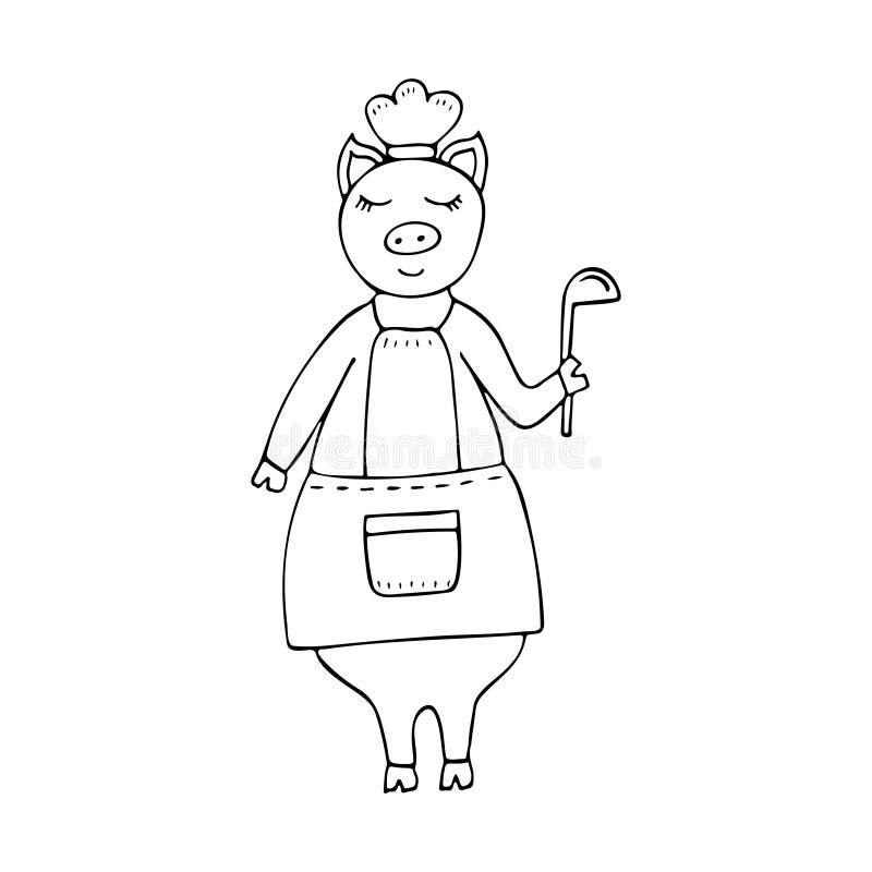 导航佩带围裙的单色手拉的滑稽的猪厨师 库存例证