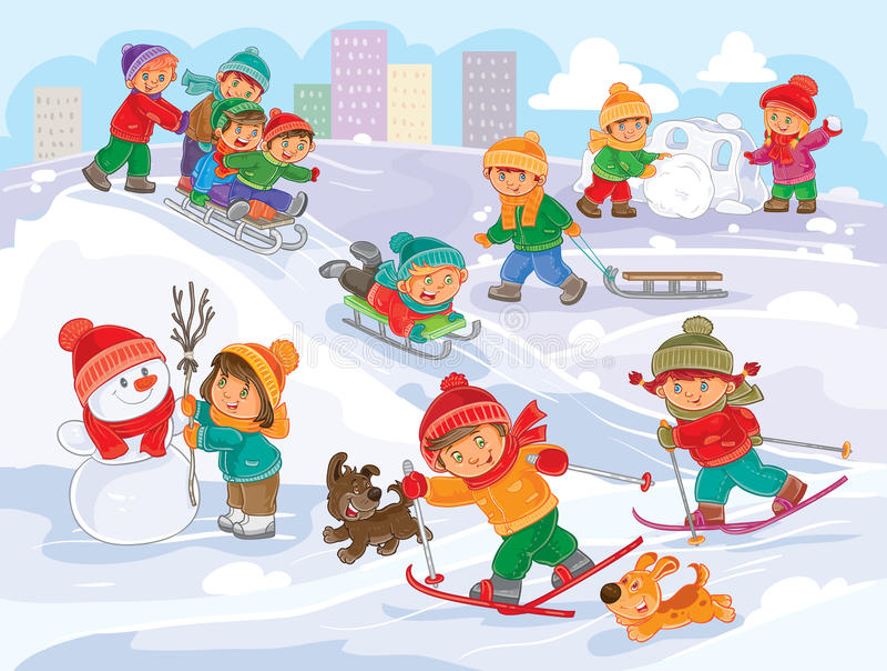 导航使用户外在冬天的小孩的例证 库存例证