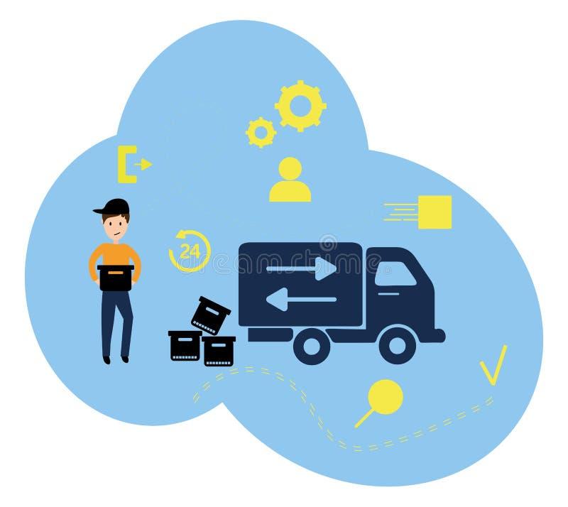 导航例证、平的样式、各种各样的商店、物品折扣、购买和礼物,购物的概念和 皇族释放例证