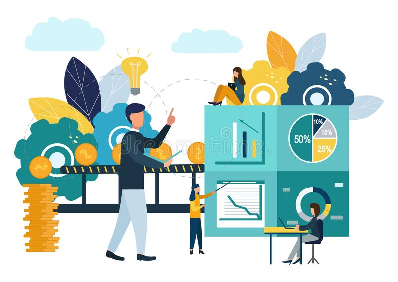 导航例证、投资管理、配合、新的想法和增长的现金赢利,对成功,事务的事业成长 库存例证