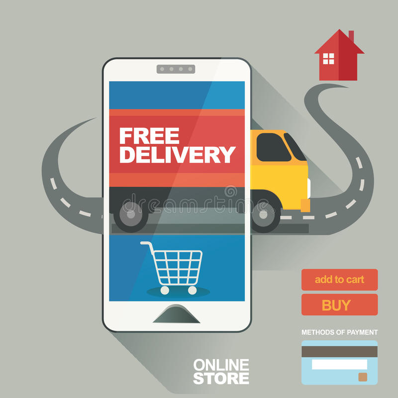 导航例证、海报在线的商店交易,服务,销售战略和企业促进 库存例证